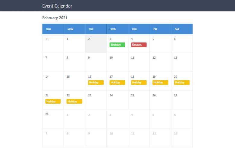 Event Calendar PHP