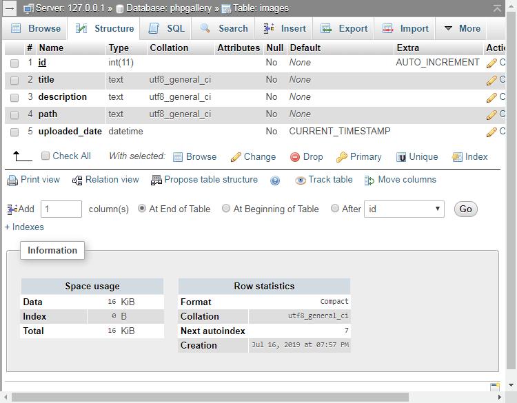 MySQL Images Table