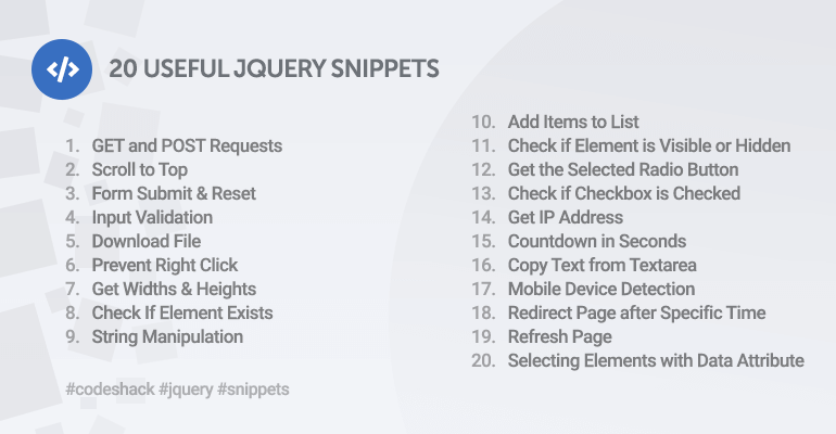 20 Useful jQuery Snippets