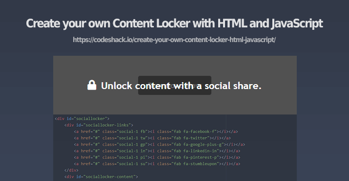 Create your own Content Locker with HTML and JavaScript