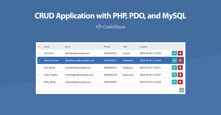 CRUD Application with PHP, PDO, and MySQL