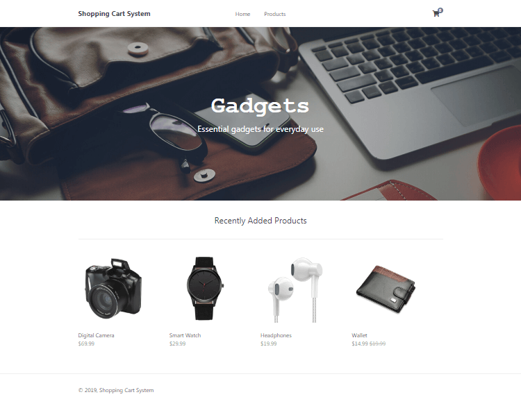 Shopping Cart Home Page